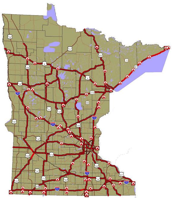 minnesota rest area map